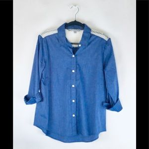 Gorgeous Blue Ladies Shirt With Net Lace.